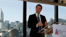 Chancellor George Osborne giving a speech in Hong Kong