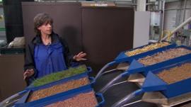 Jane Rickson with rain simulator