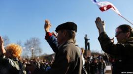 Pro-Russian demonstrators in Simferopol