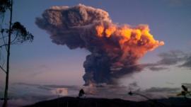 The Tungurahua volcano in Ecuador