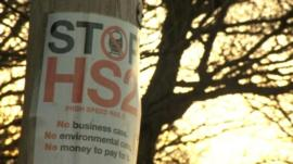 Stop HS2 poster in Warwickshire