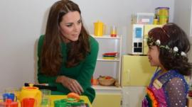 The Duchess of Cambridge meets Bailey Rupe, six, during her visit to the Rainbow Place Children