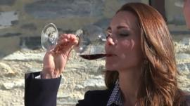 Duchess of Cambridge drinking red wine