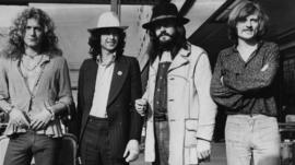 From left to right, Robert Plant, Jimmy Page, John Bonham (1947 - 1980) and John Paul Jones