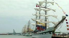 Latin American tall ships arrive in El Callao harbour in Peru