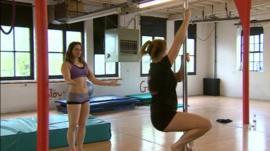 Kat Humphrey pole dancing