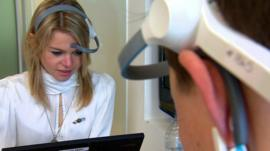 Office workers using wearable technology