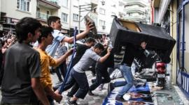 People attack the Soma offices of Prime Minister Recep Tayyip Erdogan