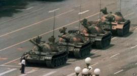 A Chinese man blocks a line of tanks on Beijing's Changan Blvd, 5 June 1989