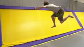 Inside the trampoline park at Camberley