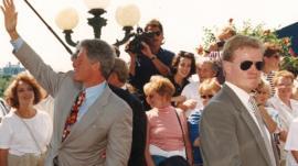 President Bill Clinton and Secret Service Agent Dan Emmett in a crowd in Georgetown, 1993