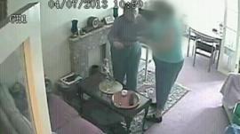 CCTV showing Lottie Butcher being dragged around her own flat