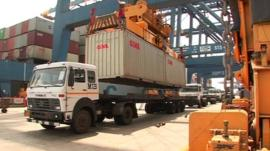 A truck loading goods for export