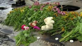 Flowers laid at crash site