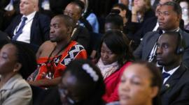 People listen as U.S. Secretary of State John Kerry (not pictured) addresses a civil society forum during the U.S.-Africa Leaders Summit in Washington August 4, 2014