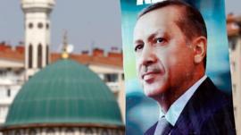 A presidential election campaign banner of Recep Tayyip Erdogan, Ankara, 11 August 2014