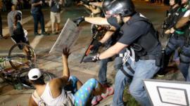 Police and protestors in Ferguson, Missouri