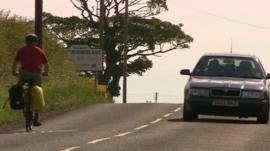 Commuter cycling across the Scotland England border