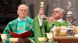 Pope Francis at mass