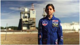 Alyssa Carson, 13, at a Nasa space and research centre