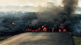 Lava flowing down the road