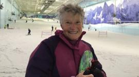 Norma Peace is 75 and snowboards