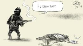 Cartoon showing gunman saying