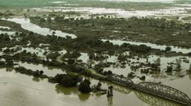 An aerial view taken on January 20, 2015 shows a flooded area is seen at Makhanga in Malawi's most southern district of Nsanje