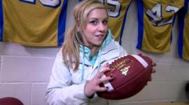Jenny with an American football