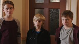 Still from The Dumping Ground with Ryan, Harry and Finn