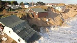 Coastline disappears due to erosion