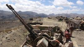 Southern Peoples Resistance militants loyal to Yemens President Abd-Rabbu Mansour Hadi man an anti-aircraft machine gun the militia seized from the army in al-Habilin of Yemens southern province of Lahej
