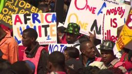 Protesters in Johannesburg taking part in a South African march against xenophobia