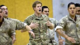 Prince Harry taking part in a traditional Maori Haka