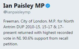 Ian Paisley's twitter biography