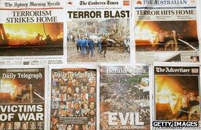 Australian newspaper headlines report Bali bombings