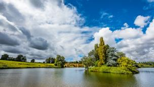 Capability Brown's lake 'Queens Pool' at Blenheim Palace.