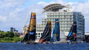 Nick Dallimore to this picture of the extreme sailing event in Cardiff Bay