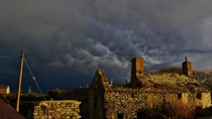 A threatening sky over Llanddeusant on Anglesey, taken by Lisa Hooton