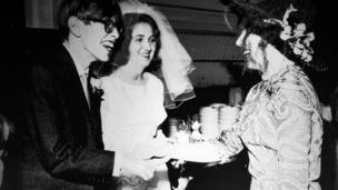 Stephen Hawking at his wedding to Jane Wilde in 1965