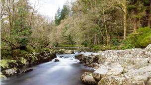The river Llugwy at Betws-y-Coed in Conwy County