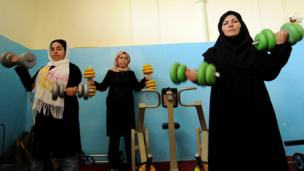 After years of being cloistered in their homes during Taliban rule, in 2008 Afghan women were pictured by Marai as they attended a gym in Herat