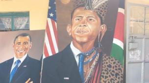 Obama akiwa amevalia nguo za kitamaduni za kabila la wajaluo