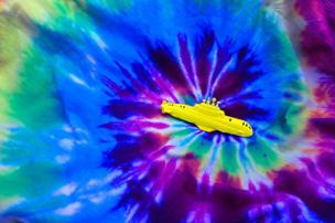 A submarine on top of tie dye