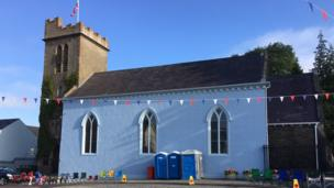 St Matthews' Church in Richhill painted blue, Armagh, 12 July 2017