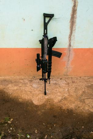A Farc weapon in the town of Santa Lucia, July 2016