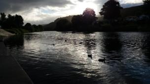 Carl Morgan caught the Monmouthshire sunrise as ducks paddle on the River Wye as it flows through Monmouth