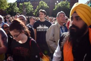 People congregate to attend a vigil in Albert Square in Manchester, northwest England on 23 May, 2017