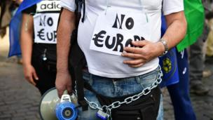 People take part in a demonstration against the European Union (Euro Stop) on March 25, 2017 in Rome.