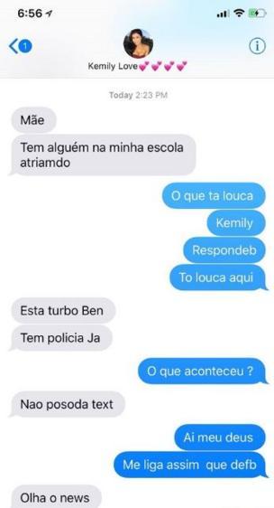 Reprodução de mensagens trocadas por mãe e filha durante ataque a escola